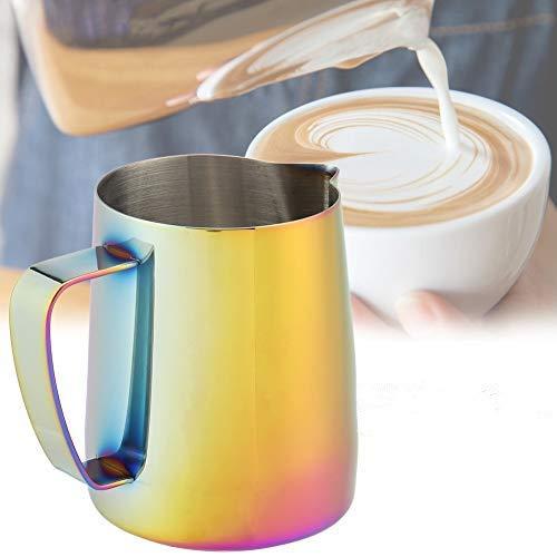 DEWIN 350 ml Jarra espumoso Jarra para espumar Leche Tire de la Taza de Flores - Taza de café de Acero Inoxidable Jarra Hermosa para espumar Leche, para Latte...