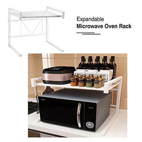 Vinteky Mensola Microonde Allungabile Forno a Supporto,Scaffale per Forno a Microonde Cucina della Griglia del Forno Salvaspazio,(43-60) x36x42cm (Bianco)