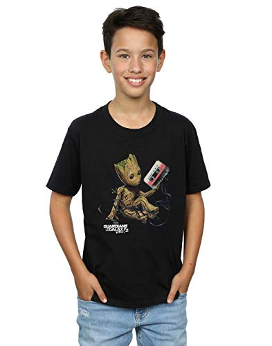 Marvel Niños Guardians of The Galaxy Groot Tape Camiseta Negro 7-8 Years