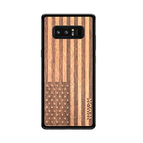 Wooden Phone Case (American Flag in Mahogany) Compatible with Galaxy Note 8, Samsung Galaxy Note 8