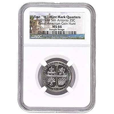 2019 W San Antonio Missions Great American Coin Hunt Label Quarter MS66 NGC