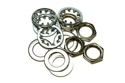 set of 4 Guitar nuts, washers & lock washers for US CTS Pots & Switchcraft Jacks, metal