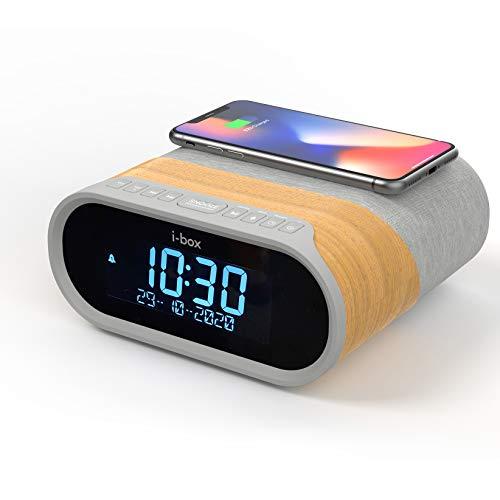 Radio Despertador DAB/DAB+/FM, Despertador Digital con cargador Inalámbrico Rápido 10W, 2 Puertos de Carga USB, Bluetooth, Alarma Doble, Radio Reloj Despertador Digital Alarm Clock
