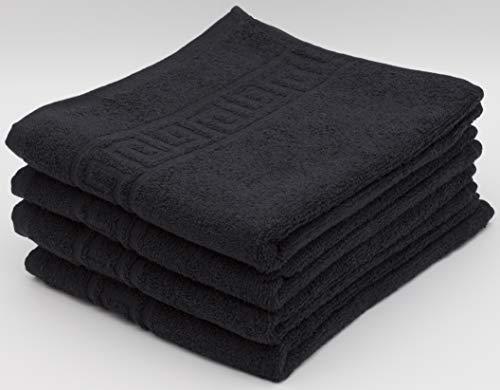 Handtuch-Set, 100 % natürliche Baumwolle, 500 g/m², saugfähig, Hotelqualität, ringgesponnen, 70 x 140 cm Badetücher und 50 x 90 Handtücher, baumwolle, Schwarz , 4 Hand Towels
