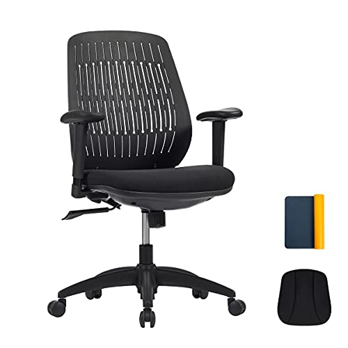 Home Office Desk Chair, Premium Ergonomic Office Chair, Office Task Chair with Up-Down Adjustment Arms, Removable and Washable Fabric Backrest Cover, Swivel Tilt Comfortable Chair with PA Wheel, Black