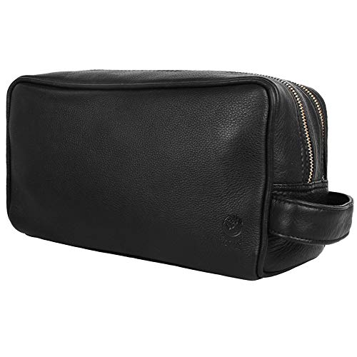 Genuine Leather Travel Toiletry Bag - Dopp Kit Organizer By Rustic Town (Black)