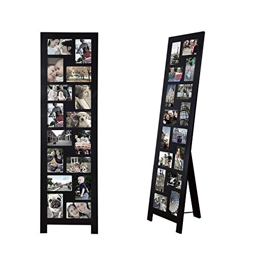 Adeco 16 Openings Black Wood Hinged Folding Partition Screen-Style Collage Picture Photo Frame Decorative Floor Standing Easel Photo Frame, 4 by 6 Inch