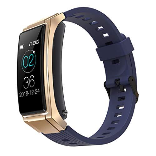 Gnaixyc 2 En 1 Pulseras Inteligentes Inalámbrico Bluetooth Auricular, Rastreador De Ejercicios Presión Arterial Corazón Frecuencia Pulsera Podómetro, Compatible con Teléfono iOS Android,Oro