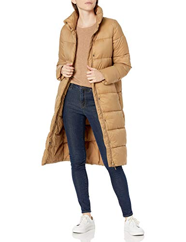 Amazon Essentials Women's Midweight Water Resistant Long Sleeve Longer Length Relaxed Fit Cocoon Puffer Coat, Camel, X-Small