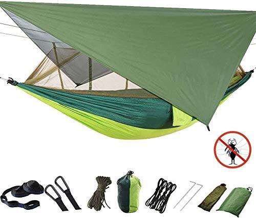 Hamaca con mosquitera, Hamaca portátil Doble para Acampar y Lona para Carpa de Lluvia Hamacas de Nylon al Aire Libre para Excursionismo con Mochila