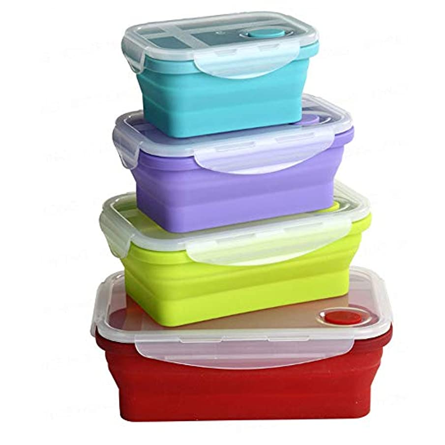 Silicone Food Storage Containers with BPA Free Airtight Plastic Lids - Set of 4 Small and Large Collapsible Meal Prep Container for Kitchen or Kids Lunch Boxes
