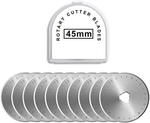 Cuchillas de repuesto rotativas de 45 mm y recortadora, compatible con OLFA, DAFA, Fiskar, reemplazo de Truecut, cortador rotativo, cuchillas rotativas,manualidades, afiladas y duraderas, 10 unidades