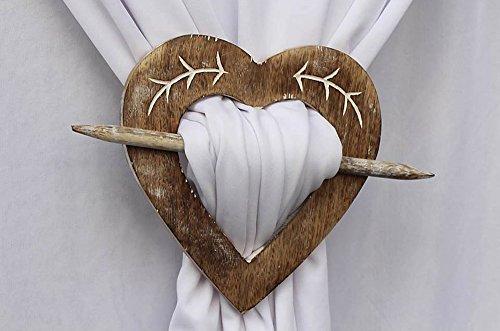 Con forma de corazón de madera cortina alzapaños cortinas abrazadera para rústico Set de 2 casa decorativa
