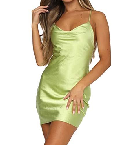 NUFIWI Women Sexy Spaghetti Strap Bodycon Dress Sleeveless Ruched Printed Backless Mini Dresses Party Clubwear(Satin Green,S)