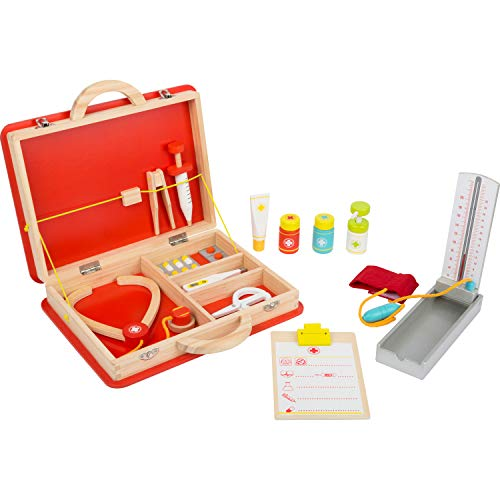small foot 11160 Notarzt-Koffer aus Holz, inkl. Zubehör wie Stethoskop, Fieberthermometer und Spritze, ab 3 Jahren