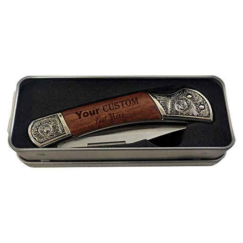 Customized Custom Your Text or Logo Here Personalized Laser Engraved Legacy Wood Personalized Stainless Steel Blade Folding Pocket Knife - Gifts For Him, For Her, For Boys, For Girls, For Them
