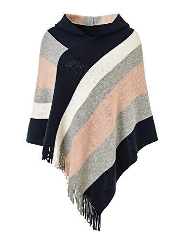 Ferand Gestreift Gestrickter Poncho Schal im Wickeldesign mit gefransten Seiten für Frauen, Kapuzenversion: Marineblau & Pink, Einheitsgröße (Beste Passform S-L)