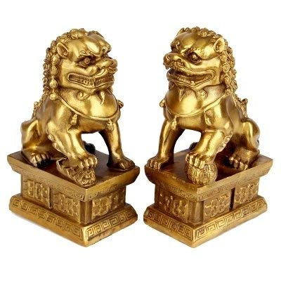 ZYYH Pure Brass bronze Pair of Palace Lions Town House Escape avoid evil Lucky craft Gifts Home Decorations ornament