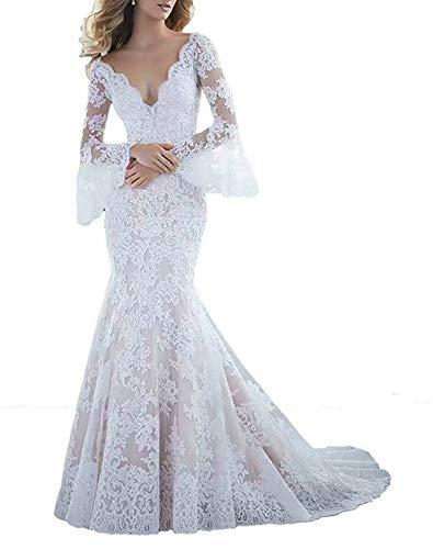 HelloLadyBridal Womens Lace Mermaid Wedding Dresses for Bride 2018 Illusion Back Bridal Gowns White B 16