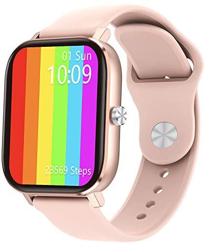 jpantech Smartwatch,Bluetooth-Anruf,HD Touch-Farbdisplay,Fitness Armbanduhr,Smartwatch Schrittzähler,Stoppuhr für Damen Herren(Rosa)