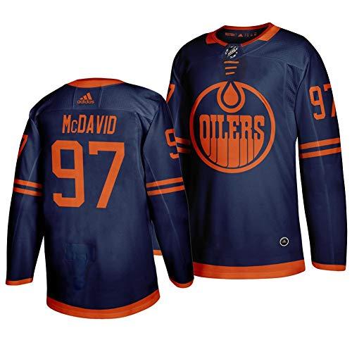 Herren T-Shirt Eishockey Jersey NHL Edmonton Oilers McDavid #97 Home Hockey Trikot Youth Training Trikot Hockey Uniform Leichtathletik Shirts Gr. S, navy