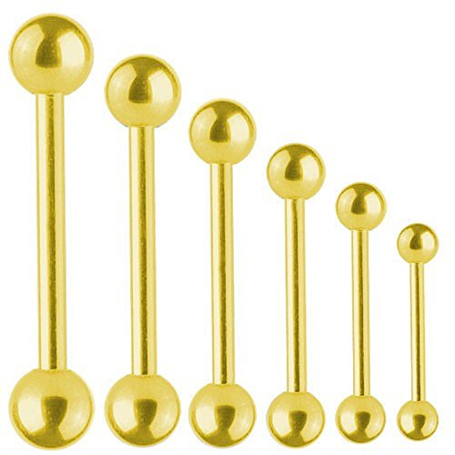 Piercing Stab Titan Vergoldet Barbell 1,6 mm mit Kugel | 6 - 40 mm, Länge:34.0 mm, Kugelgröße:4.0 mm