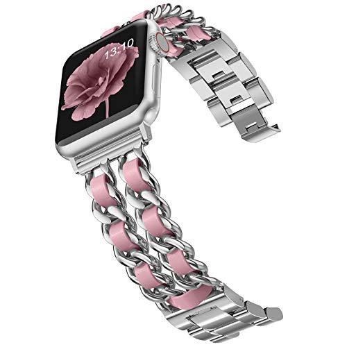 Wearlizer Compatible con Apple Watch Band 44 mm para mujer, iWatch Dressy de acero inoxidable, correa de cuero, correa de repuesto para Apple Watch Serie SE 6 5 4 3 2 1 plata + rosa.