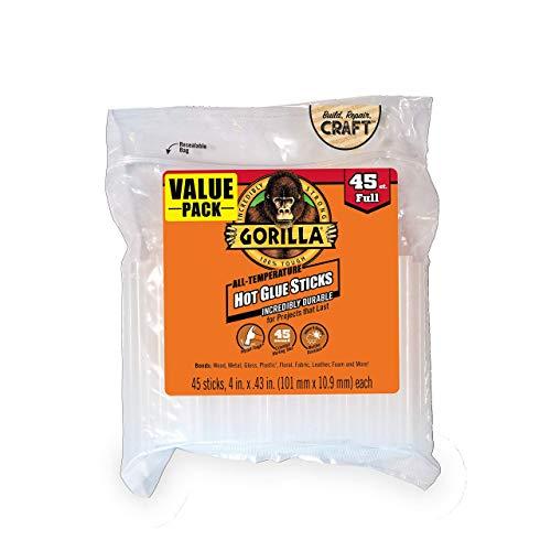 Gorilla 3034518 Hot Glue Sticks, 4 in. Full Size, 45 Count, 1 Pack