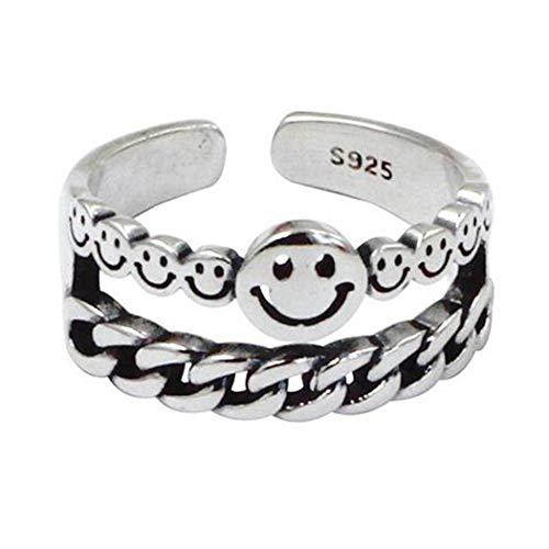Mayelia Anillo de cara sonriente vintage de plata con anillo abierto para mujeres y niñas