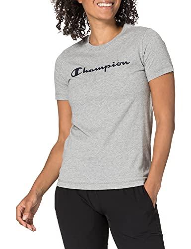 Champion Legacy Classic Logo T-Shirt, Gris Chiné Clair, XS Femme