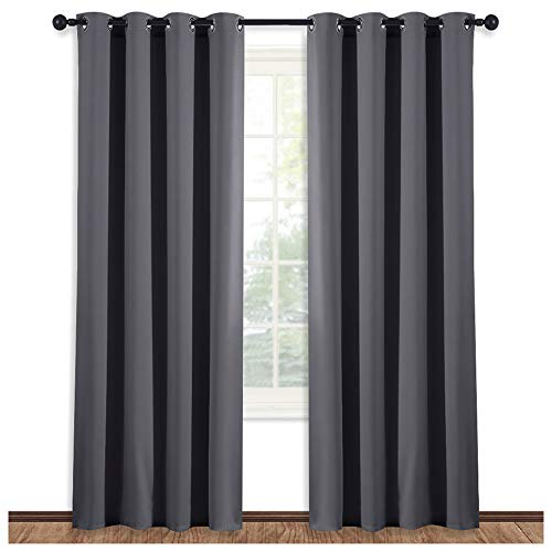 NICETOWN Blackout Blind Curtain Window Treatment - (Gray/Grey Color) Thermal Insulated Drape Shade with Grommet for Sliding Glass Door, W52 x L84 Inch, 8 Grommets/Rings Top, 1 Panel