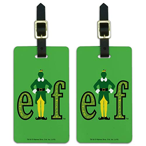 Elf Movie Logo Luggage ID Tags Suitcase Carry-On Cards - Set of 2