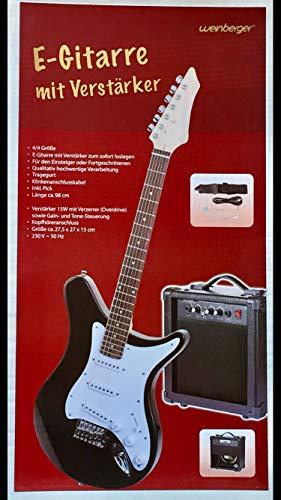 E-Gitarre mit Verstärker 15W Gitarre Musik Instrument schwarz/weiß NEU