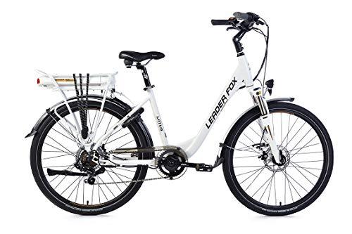 26 Zoll Alu Leader Fox Lotus E-Bike Elektro Fahrrad City Bike Pedelec Weiss 36V 576Wh