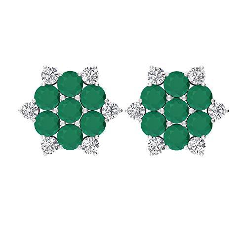 Rosec Jewels 14 quilates oro blanco redonda round-brilliant-shape H-I Green Diamond Ónice verde