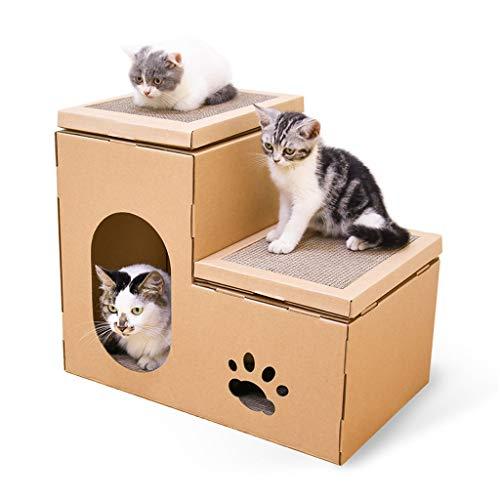 Cat House, Cat Scratch Board Cottage Cat Scratcher Huis kartonnen doos met Scratch Pad Opknoping Toy and Catnip - Beste Kitty Indoor Krassen Corner