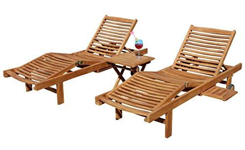 ASS 2X Hochwertige Teak Sonnenliege Gartenliege Strandliege Liegestuhl Holzliege Holz sehr robust Modell: Cozy+ 1x Beistelltisch 45x45cm von