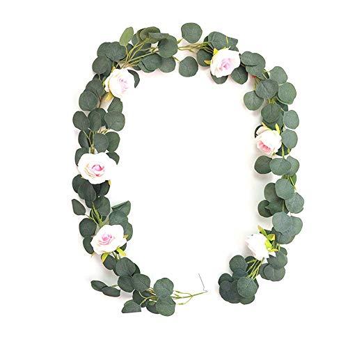 MSYOU Simulación de hiedra artificial colgante de ratán eucalipto de rosas de ratán para decoración interior y exterior, 1 pieza