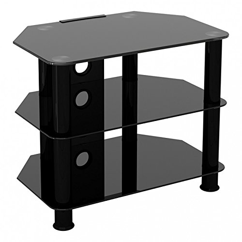 King Universal Black Glass TV Stand 60cm suitable up to 32