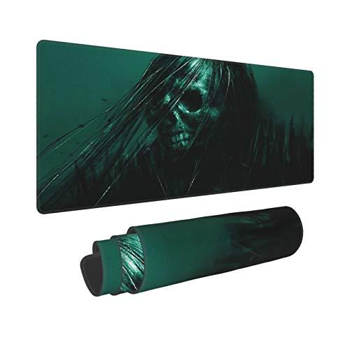 PATINISA Stor spelmusmatta skelett fångad i den gröna skärmen halkfri gummi musmattor musmatta för speldator kontorsskrivbord, 80 x 30 x 0,3 cm