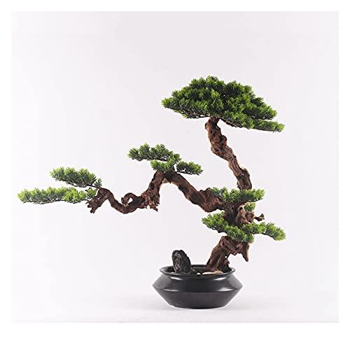 Planta Artificial para bonsái Simulación Bienvenido Pine Tree Bonsai Adornos, Plantas de árboles de Bonsai Artificial de 20 pulgadas, Decoración de escritorio de árboles artificiales para oficina en c