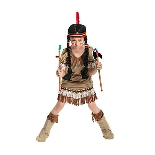 Kostümplanet® Indianer-Kostüm Kinder Mädchen Indianerin Kleid Faschings-Kostüme Squaw Kind Outfit Karneval Verkleidung Fasching Kinderkostüm Größe 128