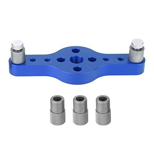 Boorgeleider Tool, Hole Locator Aluminium Puncher Gauge DIY Houtbewerkingsgereedschap Met 3 Stuks Boorbus (Blauw)