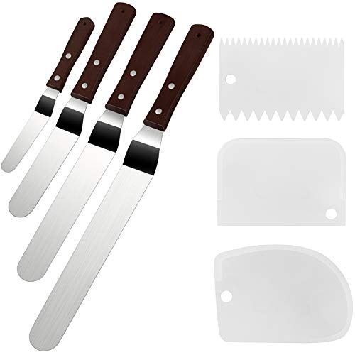 """Cake Icing Spatula Set of 4 Packs(10""""+8""""+6""""+4"""") and Cake Smoother Scraper Set of 3 Packs, Professional Stainless Steel Offset Spatula with Wooden Handle"""