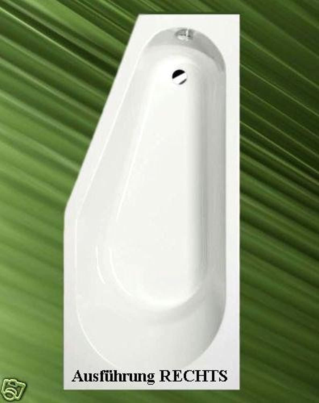 Badewanne TIGRA 170x80cm Ausführung Rechts + Ablaufgarnitur + Sifon + Wannenfüsse