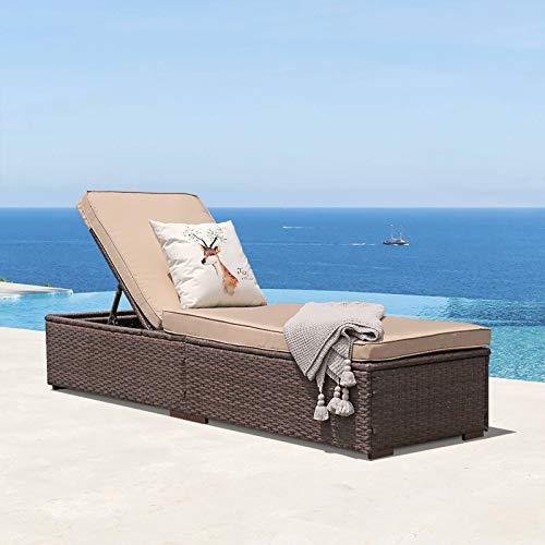 Patiorama Patio Chaise Lounge Chair, Sun Lounger, Outdoor Pool Beach Brown PE Rattan Wicker...