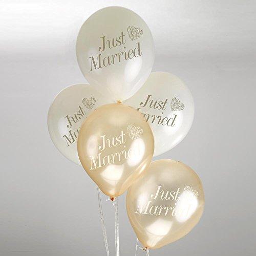 Unbekannt Luftballons mit der Aufschrift just Married & einem Herz in Creme & Gold - Inhalt 8 Ballons pro Packung - originelle Deko für Ihre Hochzeit