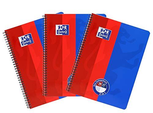 Oxford - Cuaderno (A4, cuadriculado, con doble margen, 80 hojas), color Azul Rojo 3 unidad
