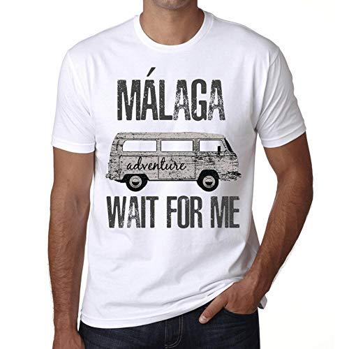 Hombre Camiseta Vintage T-Shirt Gráfico MÁLAGA Wait For Me Blanco