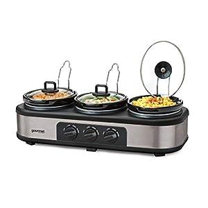 Global Gourmet Triple Slow Cooker | Multi-Functional Triple Crock Pot Food Warmer, Buffet Server & Bain Marie | Multicooker with 3 Large 1.3 Litre Stoneware Pots with lids & 3 Heat Settings